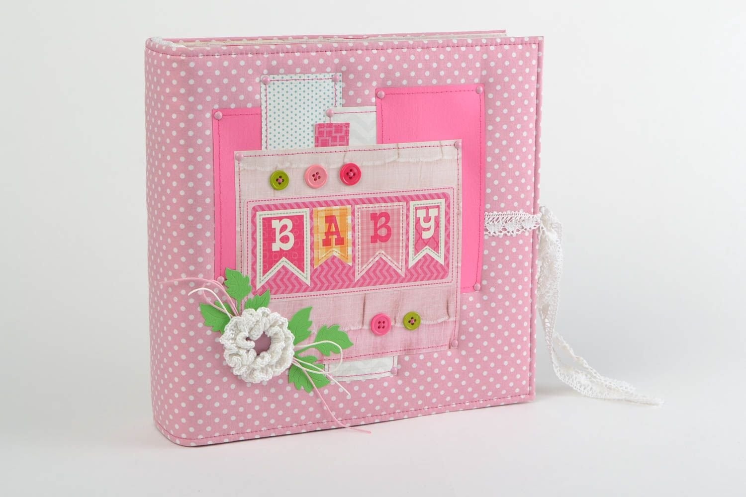 Pink Handmade Scrapbooking Photo Album With Soft Cover For Girl