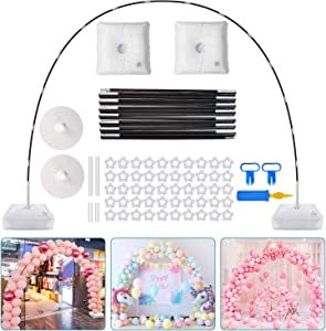 Chamvis Balloon Arch Kit,9FT Tall & 10Ft Wide Adjustable Balloon Stand Set with Water Fillable Base,50Pcs Balloon Clips,Manual Pump Balloon Knotter-For Wedding Graduation and Birthday DIY Event Party Supplies Decorations