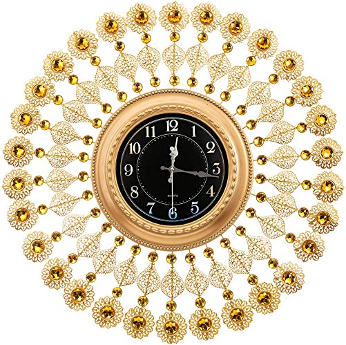 AHUA Oversized Wall Clock, Retro Black Leaf Crystal Metal Clock 27 Vintage European Style Battery Operated with HD Glass Easy to Read for Villa Hotle Living Room Wall Decoration Flowers-2