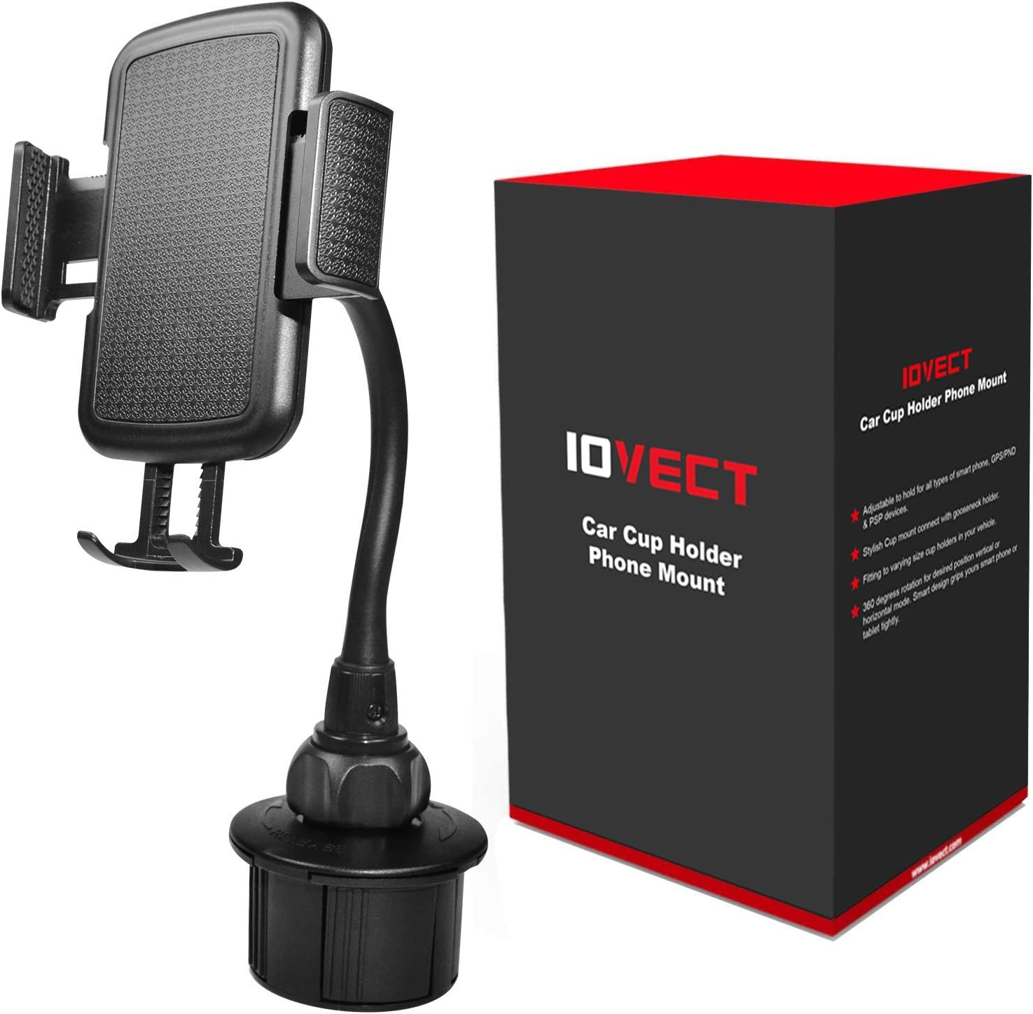 IOVECT Car Cup Holder Phone Mount with Long Flexible Neck for iPhone Xs Max//XS//x//8//7//6 Samsung Galaxy S6//S7//S8//Note8//Note9//s9