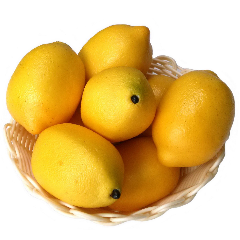 Gresorth 8pcs Artificial Lifelike Simulation Yellow Lemon Fake Fruit Home Kitchen Cabinet Decor Model