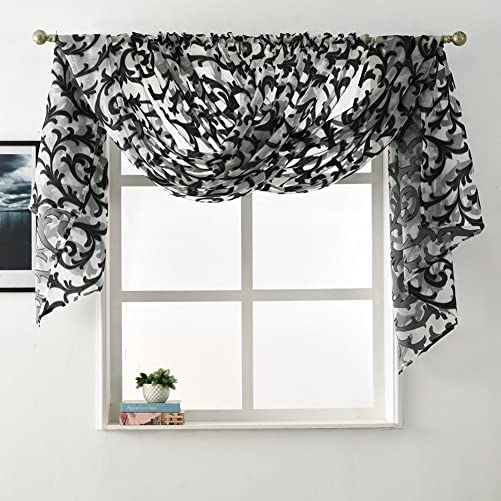 NAPEARL European Style Jacquard Sheer Curtain Panel Organza Fabric Window Scarf Valance 2 Panels Each 52 Wx108 L, Black