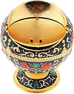 SM SunniMix Delicate Embossment Globe Shape Jewelry Box Jar Retro Metal Windproof Ashtray, Fancy Gifts,Two Style,Multiple Colors