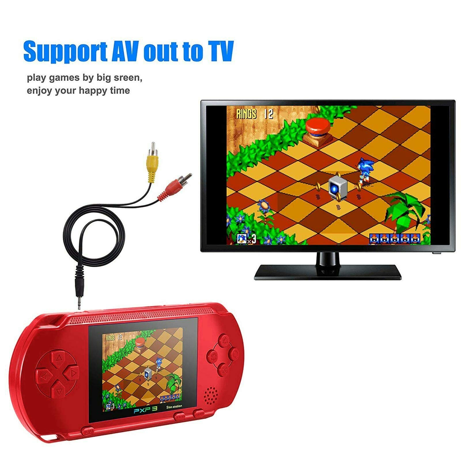 Ocamo Retro Game Console, AV Output PXP3 Portable Handheld Console Built-in Video Game Gaming Console Player Black by Ocamo (Image #4)