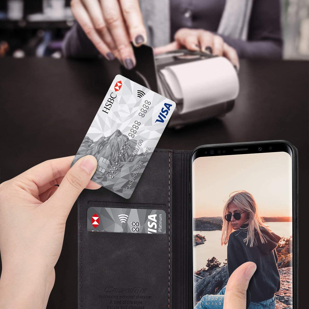 RuiPower para Funda Samsung Galaxy S9 Plus con Tapa Funda Samsung Galaxy S9 Plus Libro Fundas de Cuero PU Premium Magn/ético Tarjetero y Suporte Silicona Carcasa Samsung Galaxy S9 Plus Caf/é