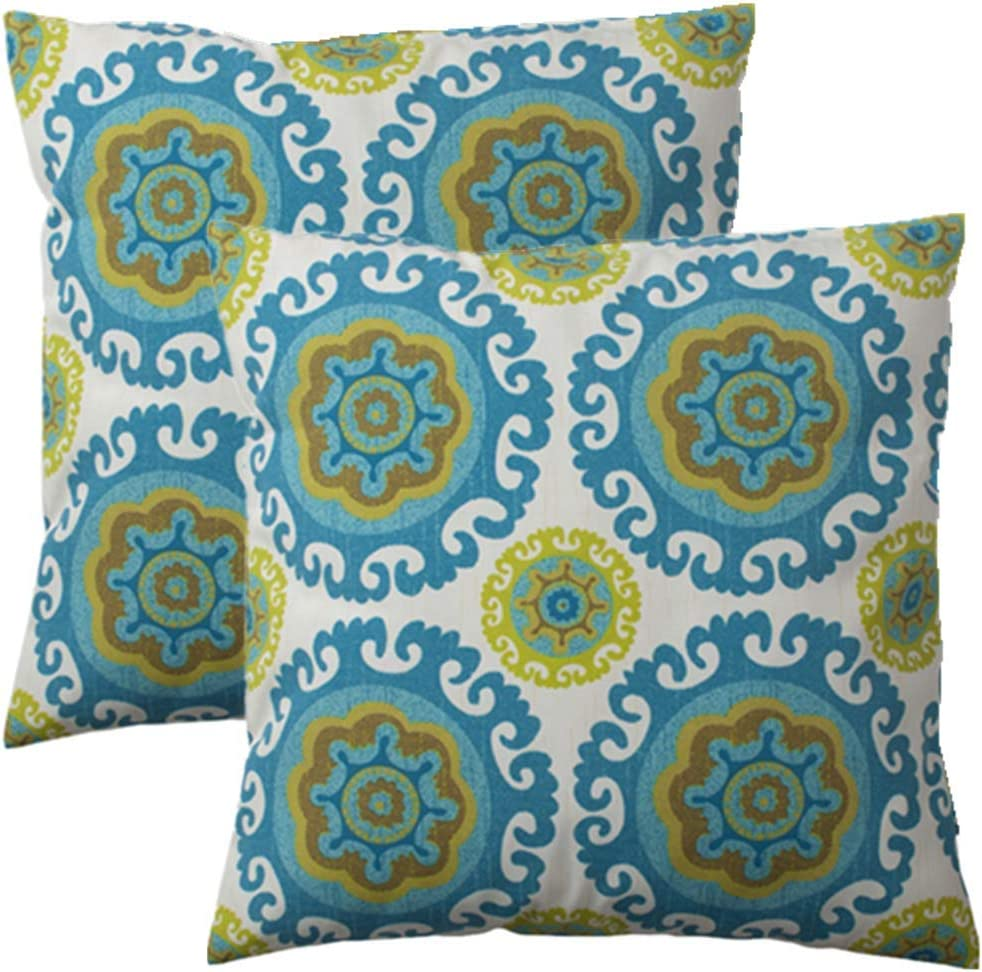 IN4 Care Indoor Outdoor Pillow Covers Pack of 2, All Weather Patio Accent Square Toss Pillow Cushion Case 17 Inch x 17 Inch for Home Sofa Couch Patio Furniture Decoration–Green Circle