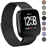PUGO TOP Fitbit Versa Watch Strap, Milanese Loop Magnet Stainless Steel Bracelet Strap Band for Fitbit Versa Smartwatch(Large,Black)