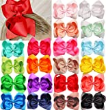 """DeD 20 Pcs 8"""" Hair Bows Clips Boutique Grosgrain Ribbon Big Large Bows Alligator Hair Accessories For Baby Girls Teens…"""