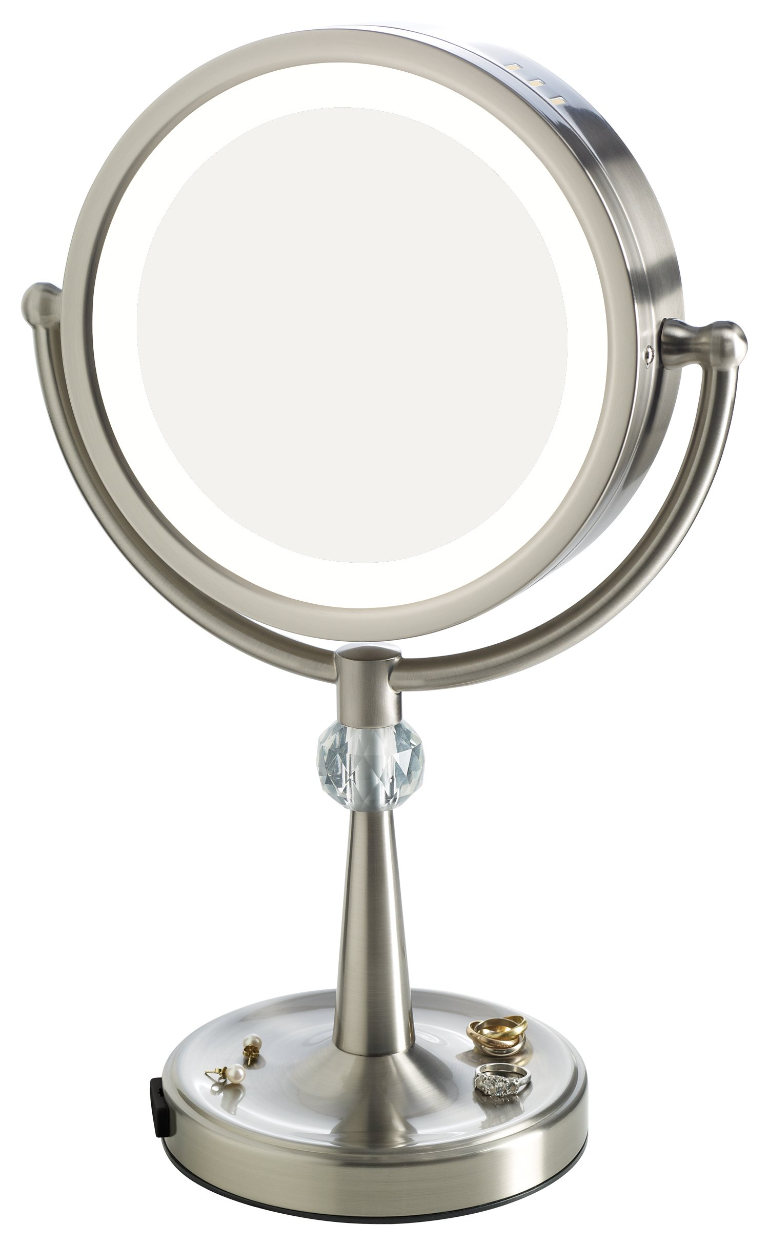 Elizabeth Arden 1x/10X Magnification Lighted Tall Makeup Vanity Counter-Top Mirror w/ Recessed Jewelry Tray and Adjustable 360-Degree Rotation by Elizabeth_Arden