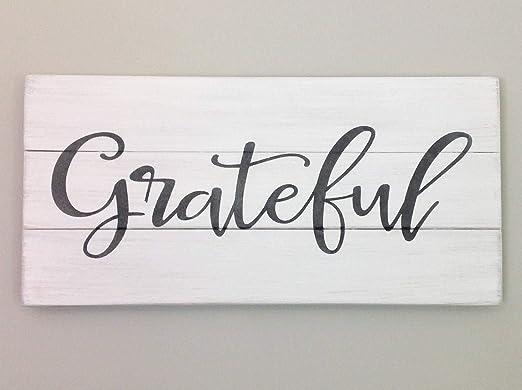 Enid18Bru Grateful - Cartel rústico de Madera Blanca Palet ...