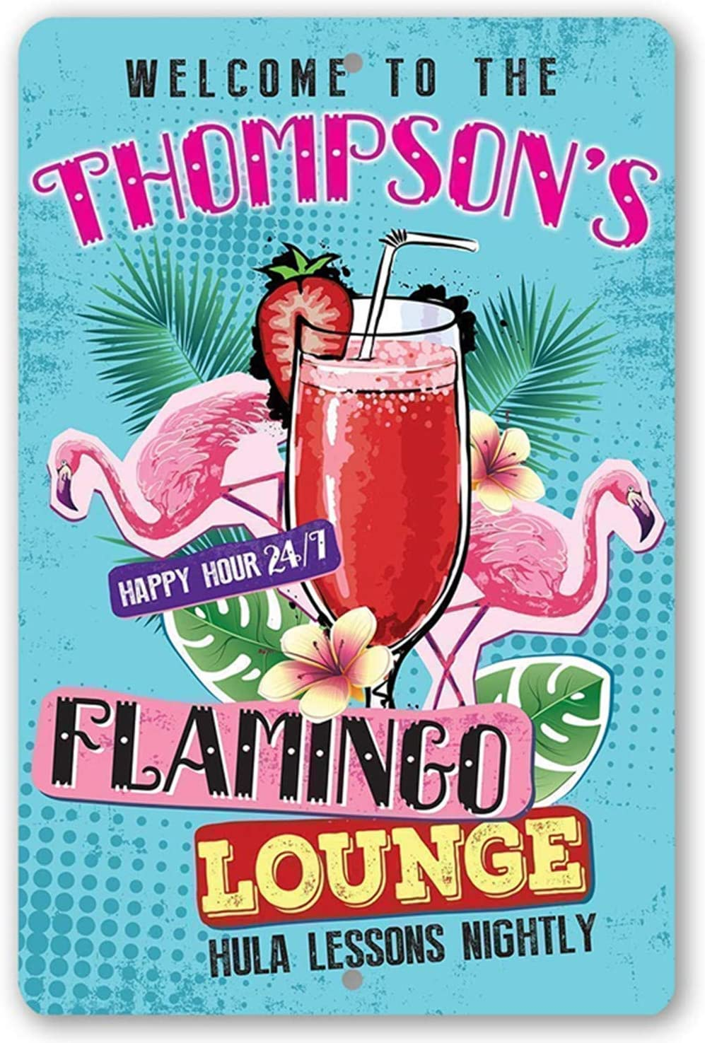 Ryantey Metal Tin Sign Retro Vintage Welcome to Flamingo Lounge Aluminum Sign for Home and Bar Wall Decor 8x12 Inch (Flamingo)