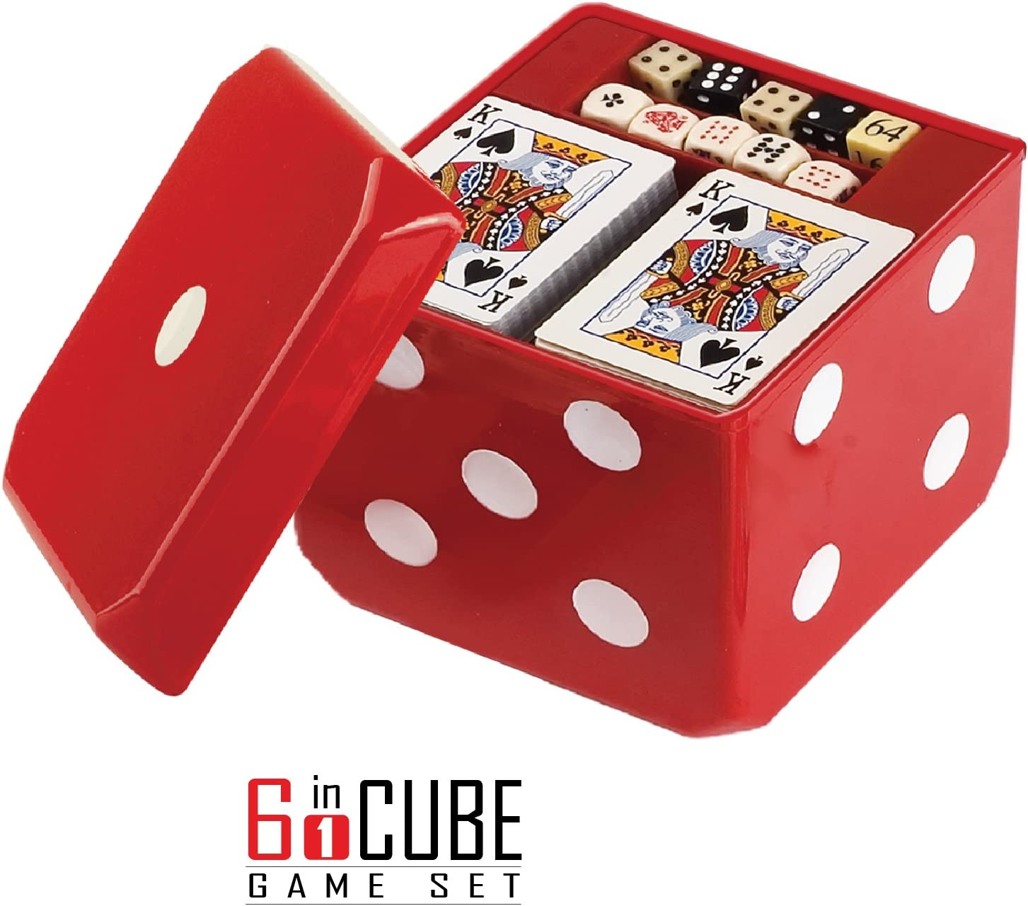 Gamie 6-in-1 Dice Cube Game Set Board Game and Casino Set – Includes Chess, Checkers and Backgammon, 2 Decks of Playing Cards, Poker Chips, Poker Dice and Dominoes - Complete Kit for Family Fun