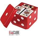 6-IN-1 Dice Cube Game Set - by GAMIE - Board Games and Casino Set – Includes Chess, Checkers & Backgammon, 2 Decks of Playing Cards, Poker Chips, Poker Dice & Dominoes - Complete Kit for Family Fun