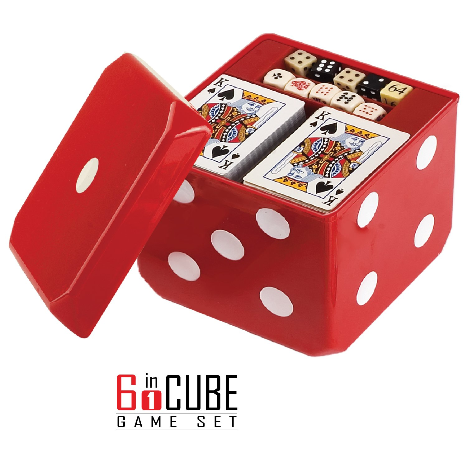 Gamie 6-in-1 Dice Cube Game Set Board Games Casino Set – Includes Chess, Checkers & Backgammon, 2 Decks Playing Cards, Poker Chips, Poker Dice & Dominoes - Complete Kit Family Fun