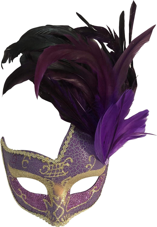 Womens Purple Can Can Beauty Feather Eye Mask Fancy Dress Masquerade Venetian
