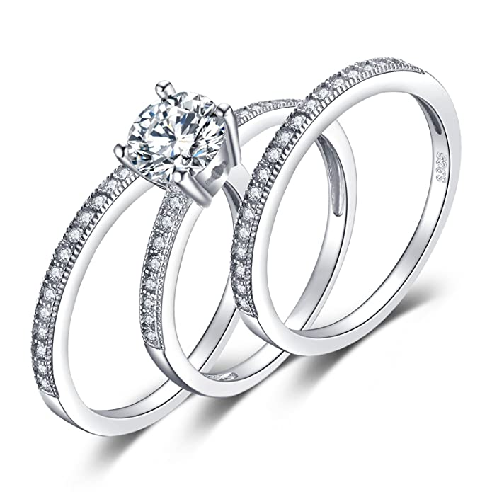 jewelrypalace 1 5ct cubic zirconia 3 pcs anniversary wedding band First Year Anniversary Gifts for Her jewelrypalace 1 5ct cubic zirconia 3 pcs anniversary wedding band engagement ring bridal sets 925 sterling silver amazon co uk jewellery