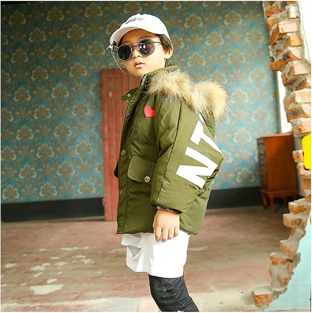 M/&A Boys Girls Packable Down Jacket Puffer Coat Fur Hood