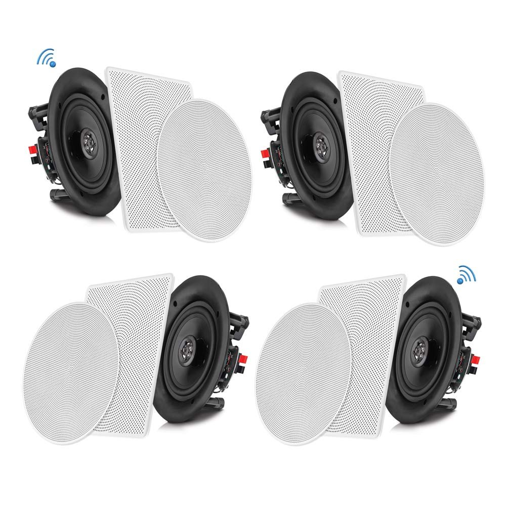 Pyle 6.5'' 4 Bluetooth Flush Mount In-wall In-ceiling 2-Way Speaker System Quick Connections Changeable Round/Square Grill Polypropylene Cone & Tweeter Stereo Sound 4 Ch Amplifier 200 Watt (PDICBT266) by Pyle