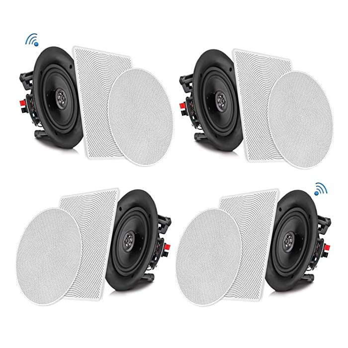 """Pyle 6.5"""" 4 Bluetooth Flush Mount In-wall In-ceiling 2-Way Speaker System Quick Connections Changeable Round/Square Grill Polypropylene Cone & Tweeter Stereo Sound 4 Ch Amplifier 200 Watt (PDICBT266)"""