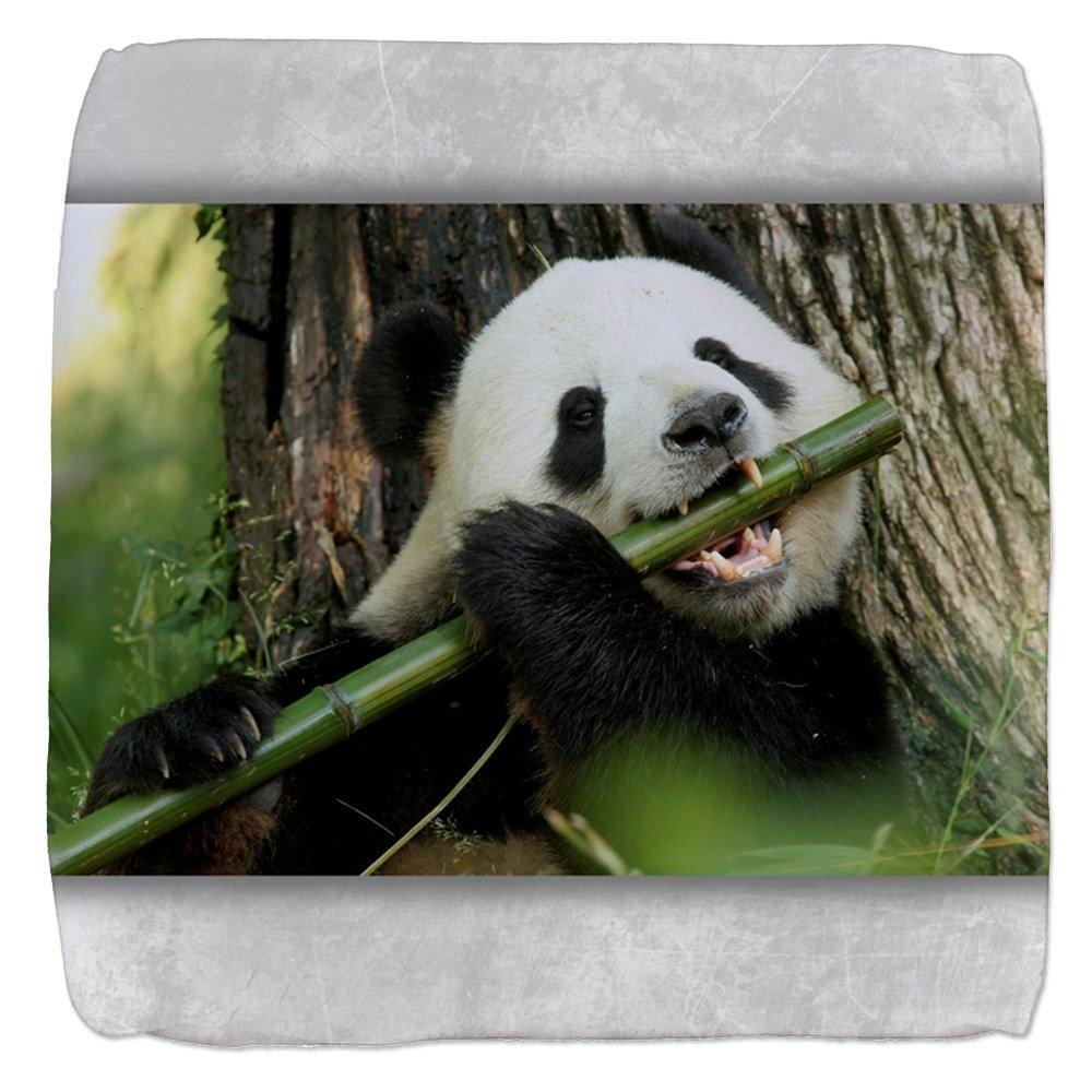 13 Inch 6-Sided Cube Ottoman Panda Bear Playing Bamboo Flute