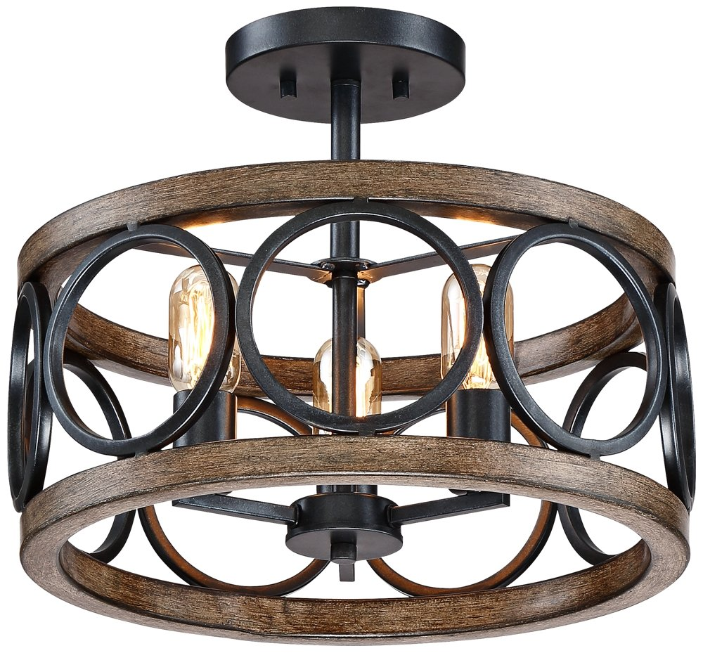 Salima 16''W Black and Wood Grain 3-Light LED Ceiling Light by Franklin Iron Works