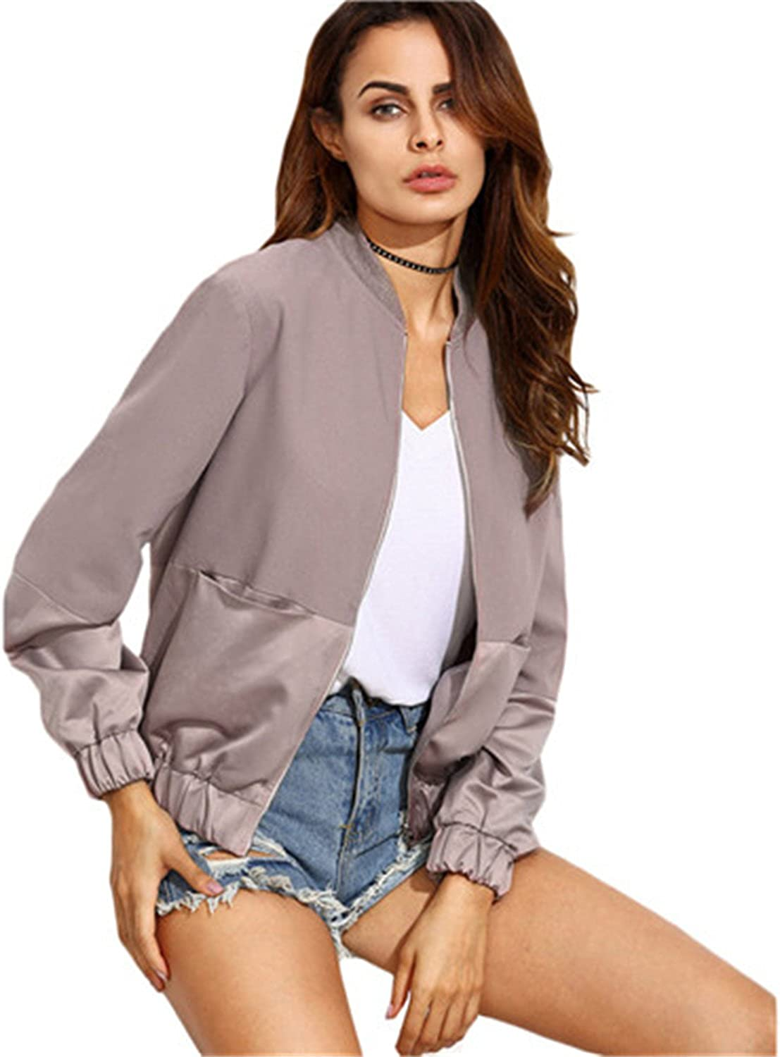 Ivan Johns Warm Womens Casual Jackets Ladies Color Block Pocket Zipper Front Stand Collar Long Sleeve Basic Outwear