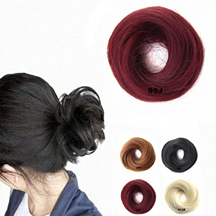 Extensiones postizas con goma elástica FESHFEN para cabello despeinado, moño, coleta, extensiones,