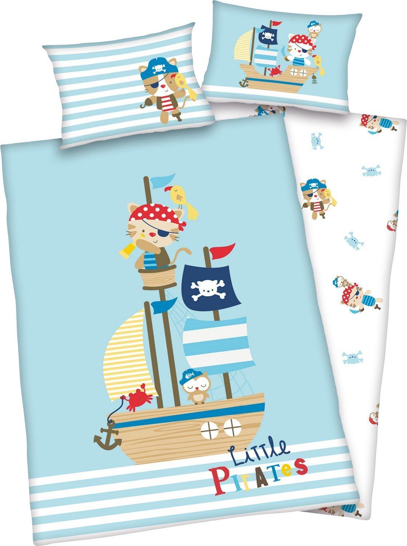 3 pièces Baby Parure de lit réversible Motif: Petite Pirates – Renforcé 100 x 135 cm + 40 x 60 cm + 1 Drap Housse Blanc 70 x 140 cm