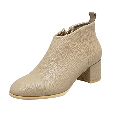 Women's Stylish Pretty Mid Heel Side Zipper Ankle Booties