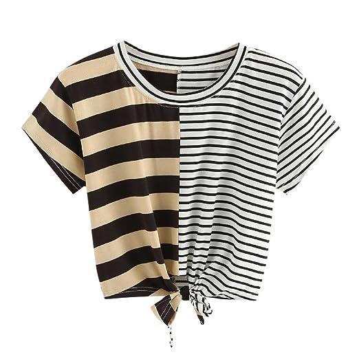 2a20480759e7 Hengshikeji Clearance Women O-Neck Striped Crop Top Short Sleeve Blouse  Casual Shirt Teen Girls