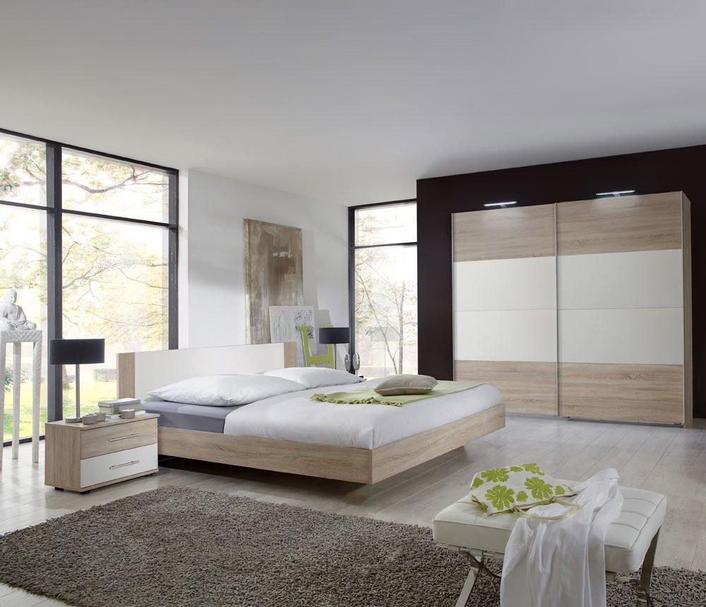 lifestyle4living 3-TLG. Schlafzimmer in Eiche sägerau-Nachb. mit Abs. in Alpin-Weiß, Schwebetürenschrank Breite: 225 cm, Futonbett 180 x 200 cm, 2 Nachtschränke