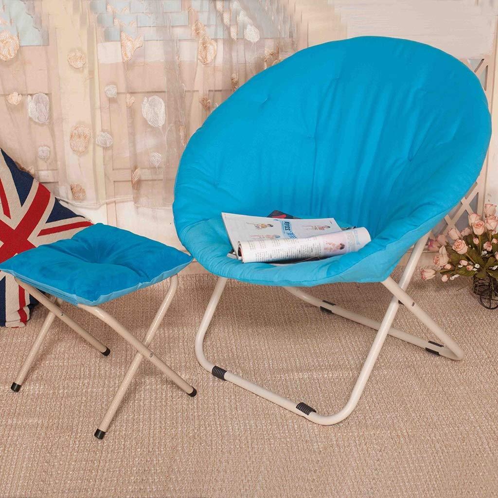 Zcxbhd Mond Freizeit Campingstuhl Falten Gepolstert Runden tragbar zum Outdoor-Aktivitäten (Farbe   Grün+Stool) Blau+stool
