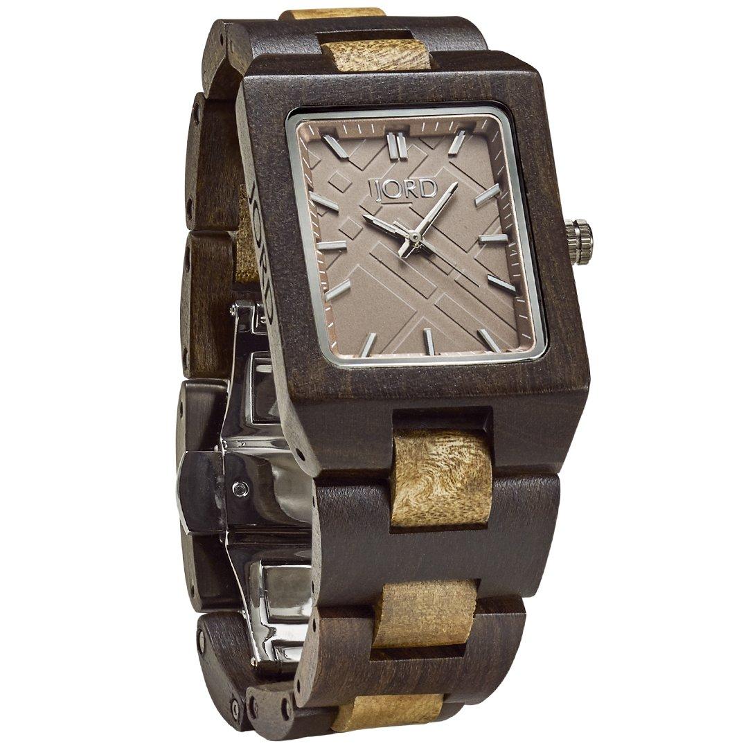JORD Wooden Wrist Watches for Men or Women - Reece Series / Wood Watch Band / Wood Bezel / Analog Quartz Movement - Includes Wood Watch Box (Gold Camphor & Khaki)