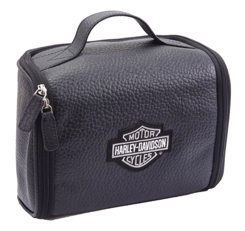 Harley Davidson Men s Leather Hanging Toiletry Kit, Black