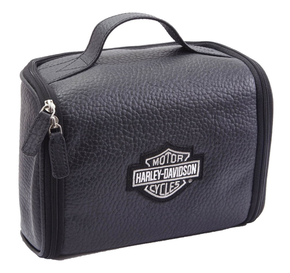 Harley Davidson Men's Leather Hanging Toiletry Kit, Black by Harley-Davidson (Image #1)