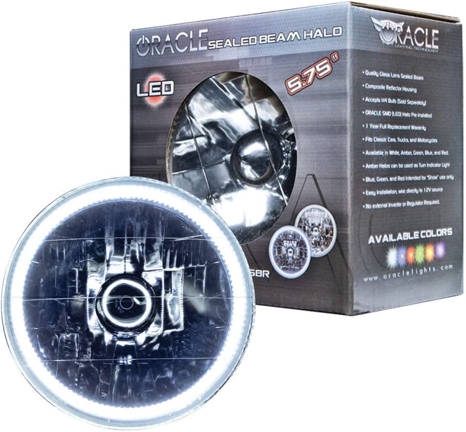 ORACLE Pre-Installed Glass Lens Sealed Beam 5.75 Headlights with Color LED Halo Red