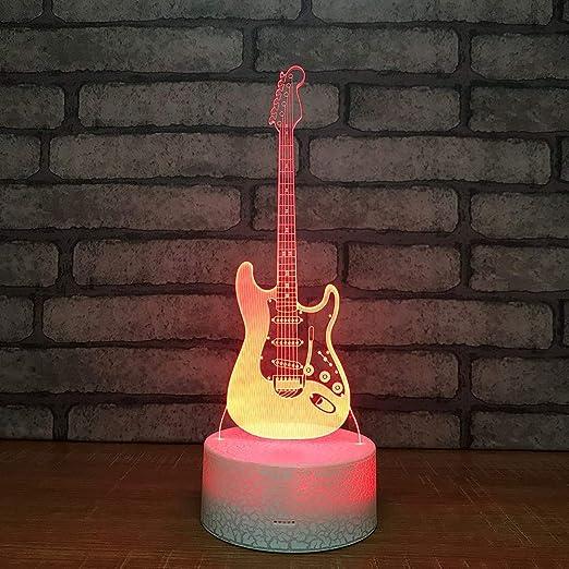 Lámpara 3D Lámpara de noche LED Mesa táctil Lámpara Guitarra ...