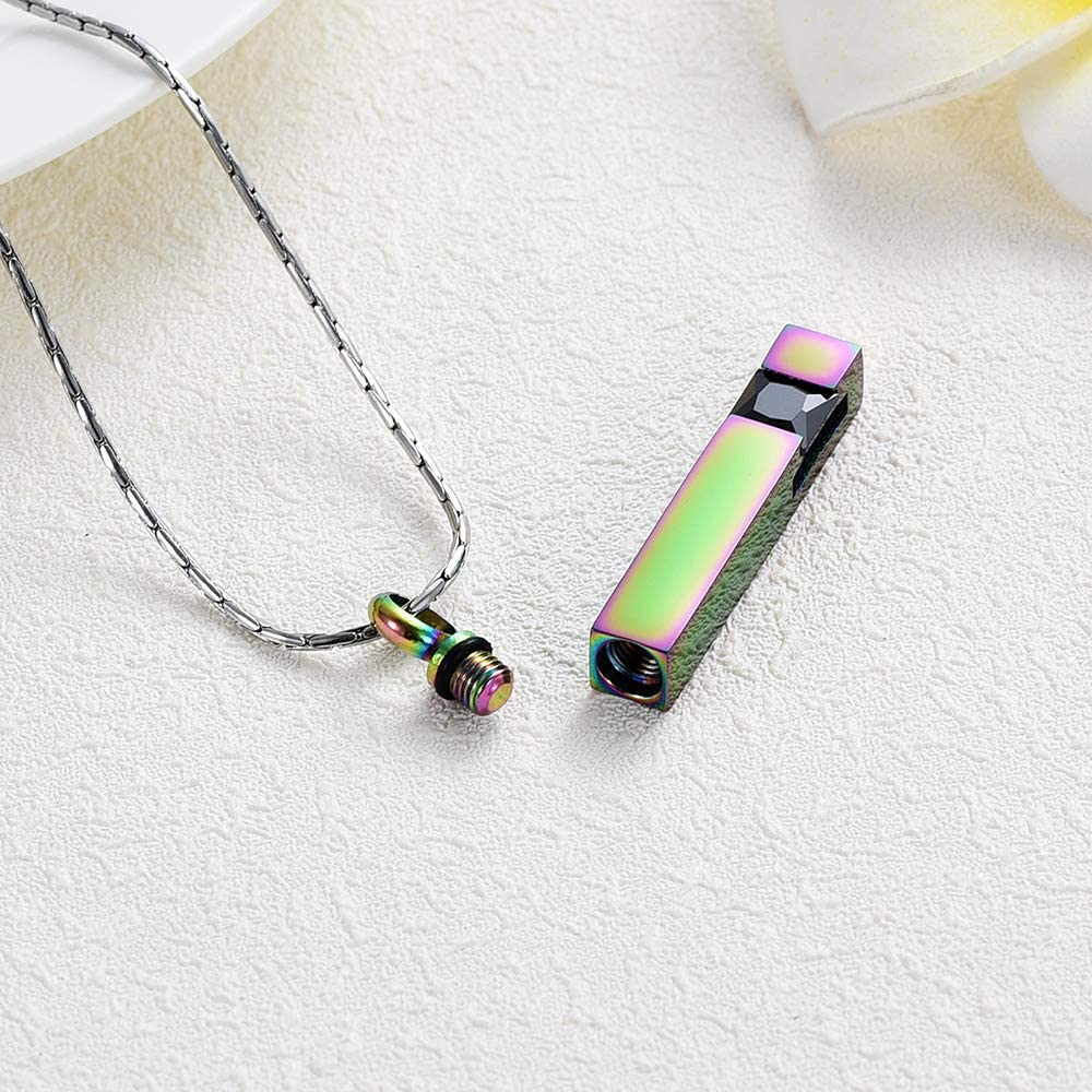 constantlife Cremation Jewelry Crystal Birthstone Urn Pendant Cube Memorial Necklaces for Ashes Keepsake Custom Engraving