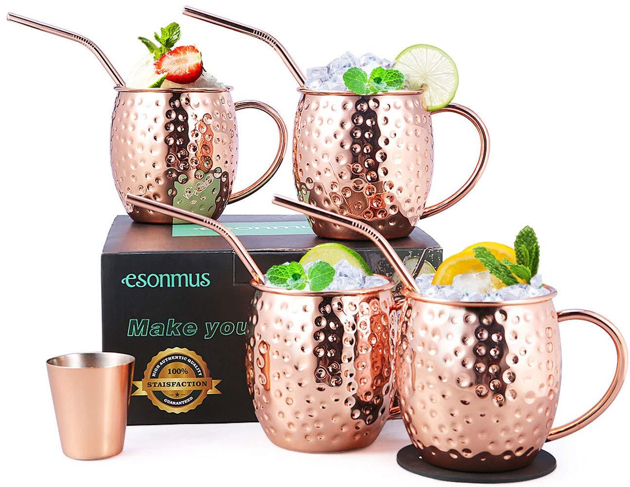 Moscow Mule Copper Mugs, esonmus Set of 4 Handcrafted Copper Mugs for Moscow Mule Cocktail with Bonus 1 Jigger 4 Straws 4 Coasters