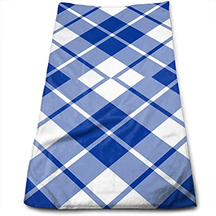 QiFfan22 Blue And White Diagonal Tartan Kitchen Towels   Dish Cloth    Machine Washable Cotton Kitchen