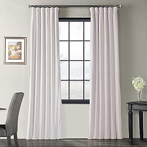 Half Price Drapes VPCH-110602-108 Signature Blackout Velvet Curtain, Off White, 50 X 108