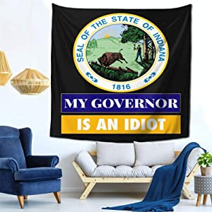 """Xiojeiey Trump 2020 My Governor is an Indiana Idaho Funny Printed Tapestry Curtain for Children's Room Dorm Home Decor in 59"""""""" X 59"""""""" Inch"""