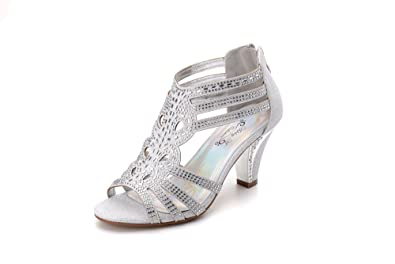 Silver Low Heel Wedding Shoes | Amazon Com Ashley A Collection Women S Lexie Crystal Dress Heels
