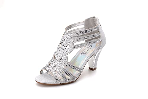 956db3b45c4 Ashley A Collection Women's Lexie Crystal Dress Heels Low Heels Wedding  Shoes KIMI25 Silver 5