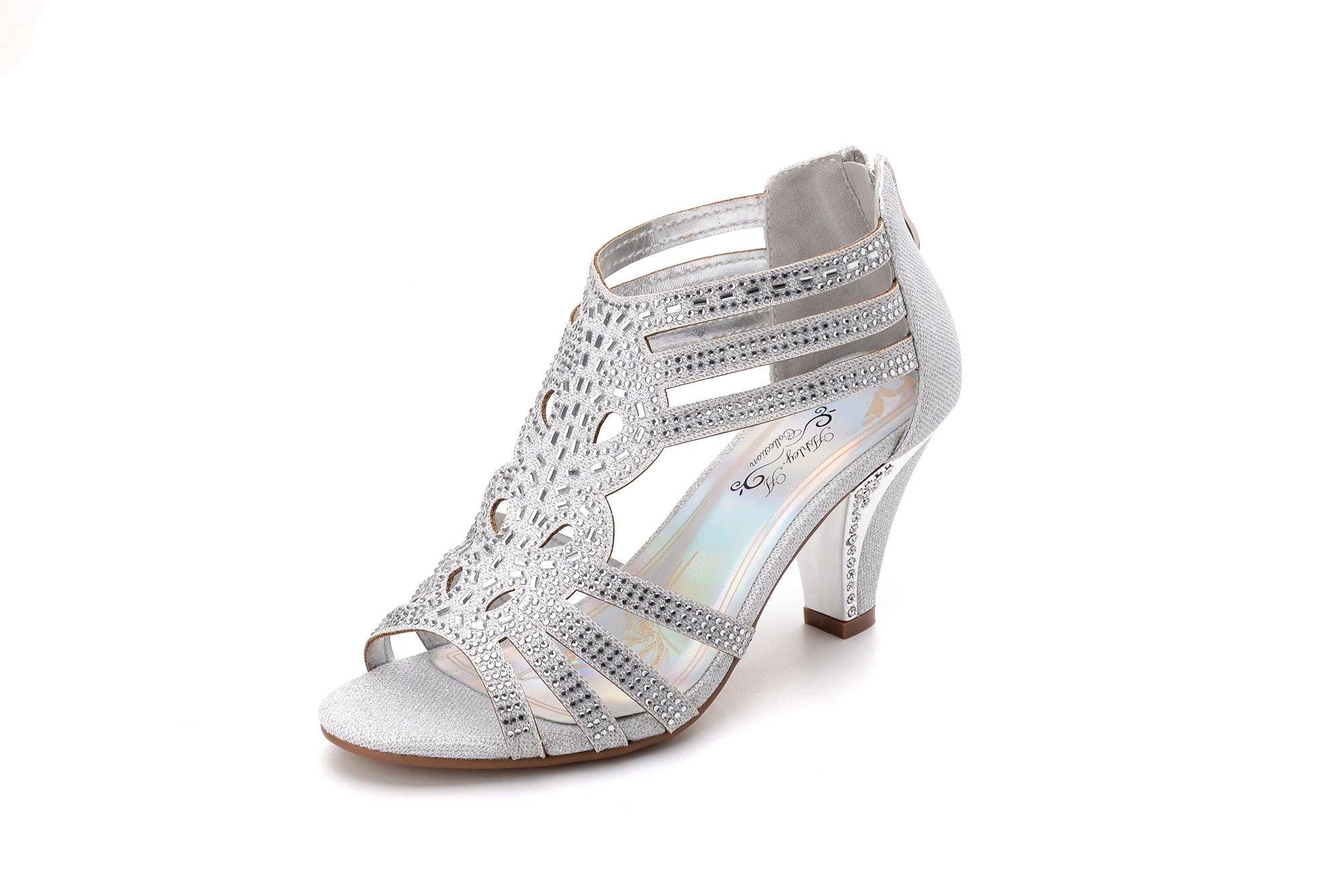Ashley A Women's Lexie Crystal Dress Heels Low Heels Wedding Shoes KINI25 Silver 7