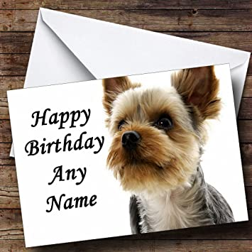 Yorkshire Terrier Dog Personalised Birthday Card Amazoncouk Office Products