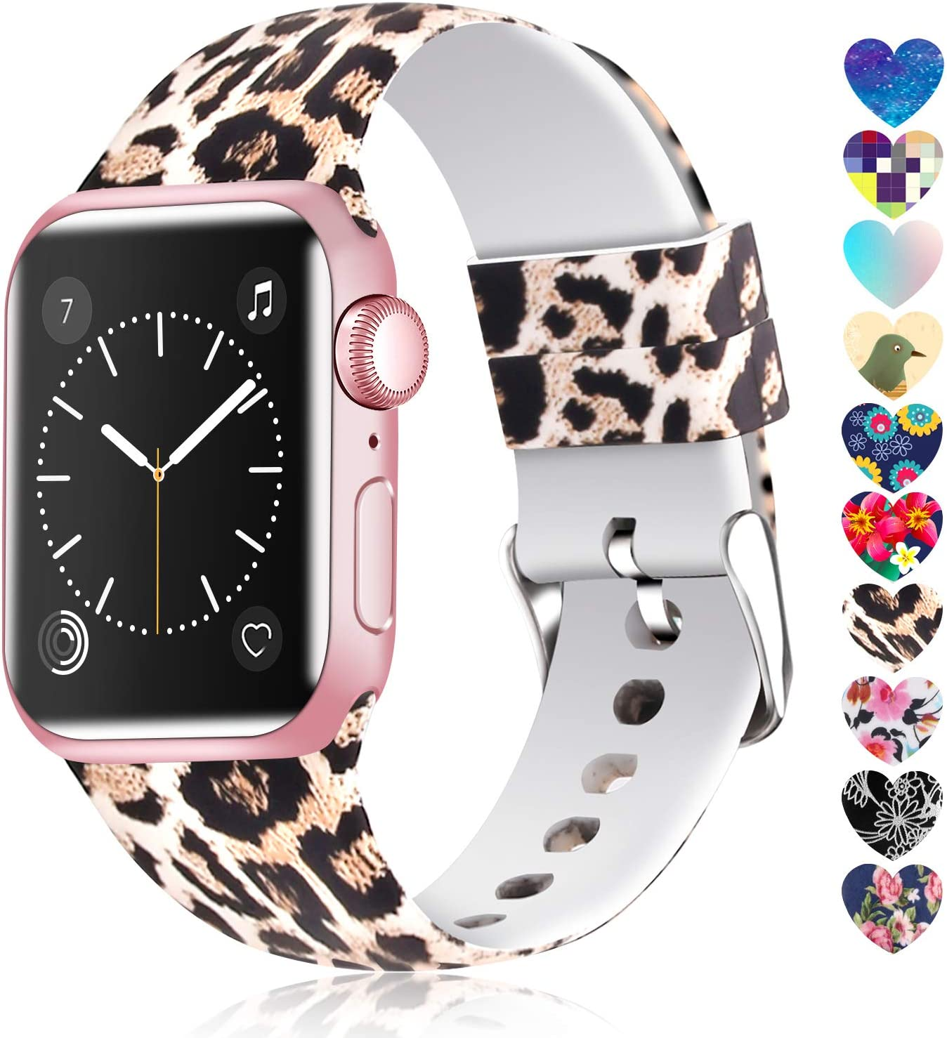 Moretek Colorful band Compatible for Apple Watch 38mm 42mm 40mm 44mm,Soft Silicone Sport Replacement Strap for iWatch Series 5 4 3 2 1, Nike+, Edition Women Men (Flower 11, 42/44mm)
