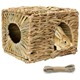 Tfwadmx Rabbit Grass House - Natural Hand Woven Seagrass Play Hay Bed, Hideaway Hut Toy for Bunny Hamster Guinea Pig…