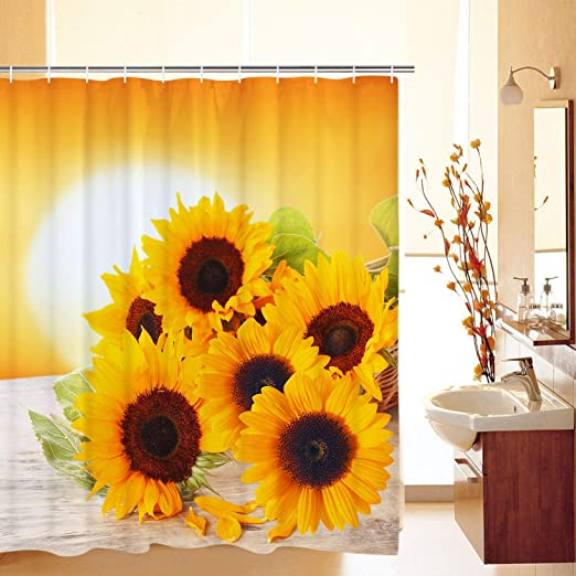 Yellow Sunflowers Modern Art Bathroom Shower Curtain Waterproof Fabric /& Hooks