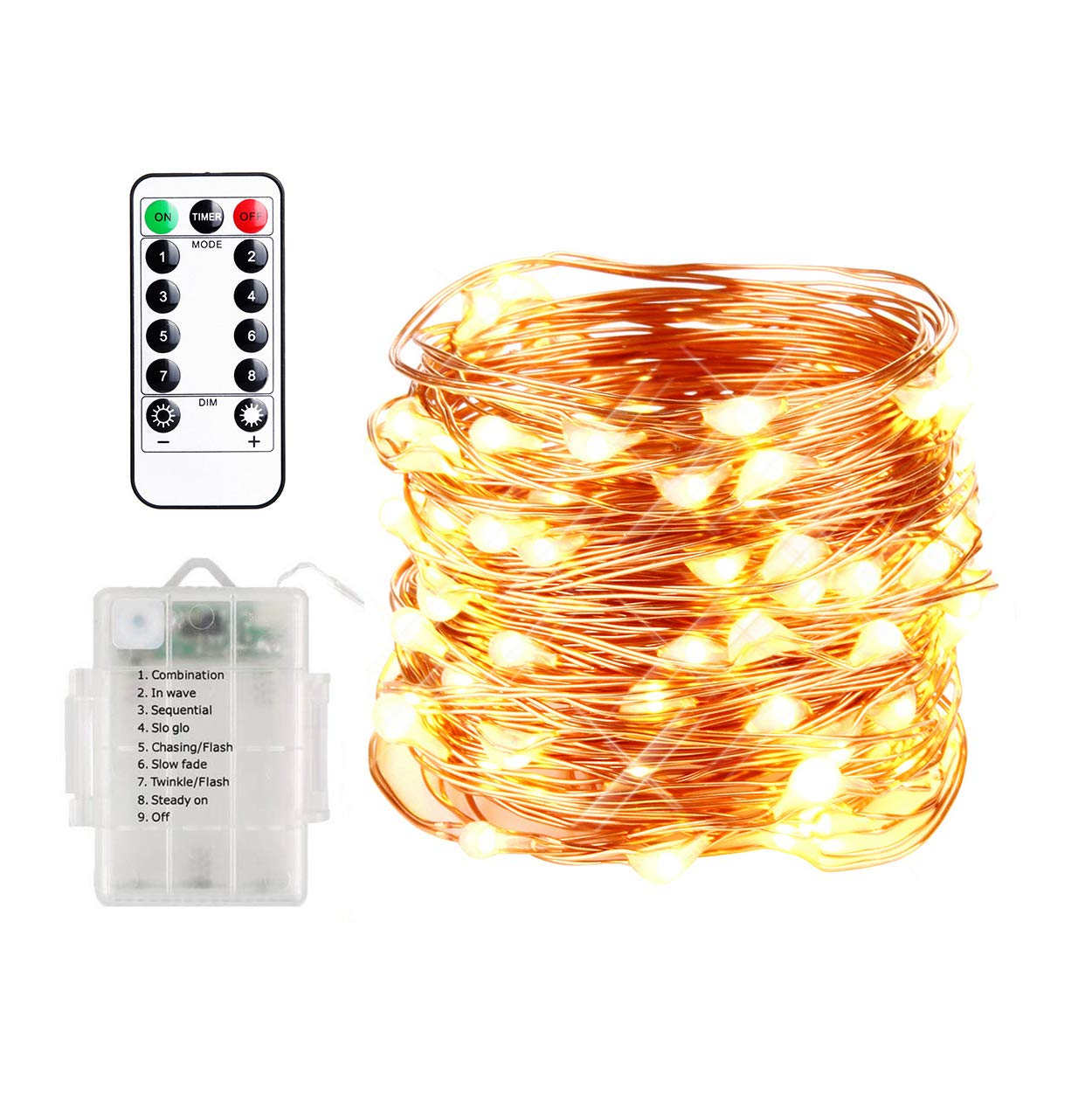 Innotree Led String Lights 33ft 100 Fairy Battery Book Wiring Observation Room 8 Modes Copper Wire With Remote Timer Ip67 Waterproof Decoration For Bedroom Patio Indoor Outdoor Warm White